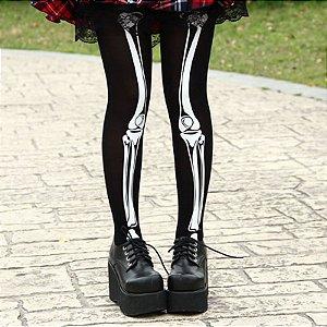 Meia Calça Esqueleto Caveira Halloween Dark Skull Gothic