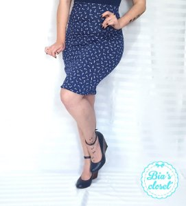 Saia Lápis MIdi Navy Âncoras Pin Up Rockabilly Retrô