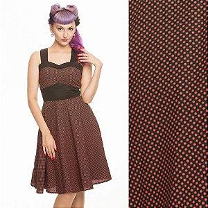 Vestido Pin Up Alça Cruzada Bolinhas Vintage Retrô Trapezia