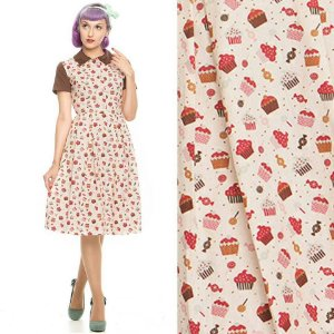 Vestido Midi Golinha Estampado Pin Up Retrô Cupcakes