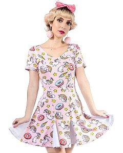 Vestido Unicórnio da Malha com Nesgas Fun Colors Trapezia