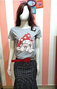 Camiseta Baby Look Pin Up Dog Cachorro Bolinha