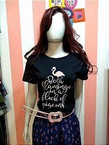 Camiseta Baby Look Frase e Pink Flamingo Retro