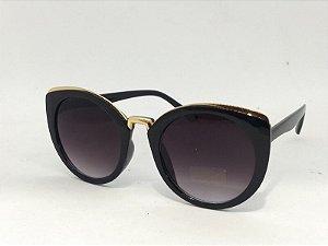 Óculos Gatinho Redondo com detalhe Dourado Vintage Pin Up Retrô