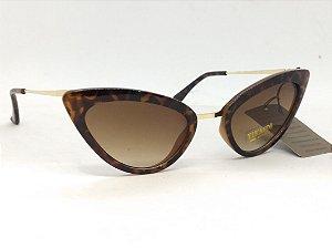Óculos Gatinho de Oncinha e hastes douradas Vintage Pin Up Retrô