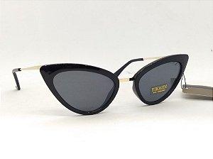 Óculos Gatinho de Preto e hastes douradas Vintage Pin Up Retrô