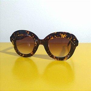 Óculos Escuros Jackie-O Retrô Anos 60 Oncinha