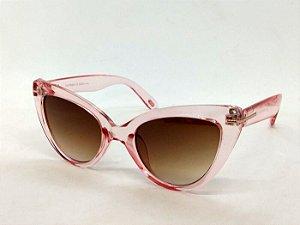 Óculos Gatinho Transparente Rosa Pin Up Retrô