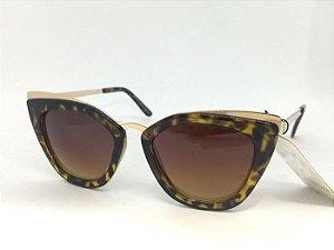 Óculos Gatinho Geométrico de Oncinha com Dourado Pin Up Retrô