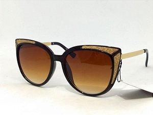 Óculos Gatinho com Glitter Dourado Vintage Pin Up Retrô