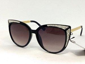 Óculos Gatinho com Glitter Prata Vintage Pin Up Retrô