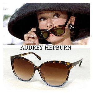 Óculos escuros de Oncinha com Azul Pin Up Audrey Vintage Retrô