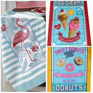 Pano de Prato Retrô Vintage Flamingo Sorvete e Donuts felpudo