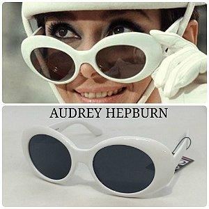 Óculos Escuros Redondo 60s Audrey Hepburn Cobain Branco Retrô Vintage