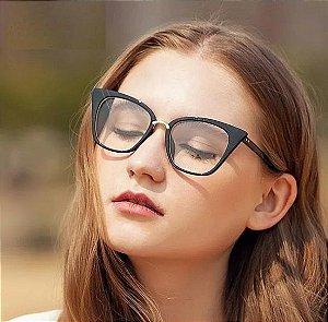 Óculos de Grau Armação Gatinho Moderno Pin Up Retrô