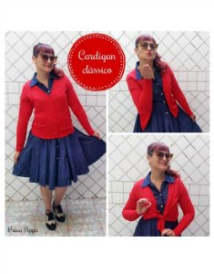 Cardigan Casaquinho de Tricot Liso Pin Up Retrô 50´s