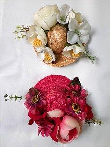 Casquete Chapéu de Palha com Flores  Pin Up Retrô