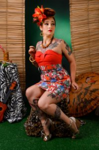 Saia Tulipa Floral Xadrez Pin Up Tiki Tropical