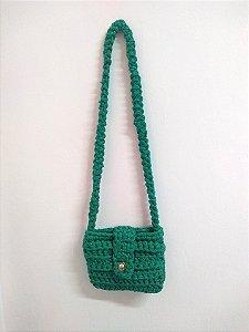 Bolsa Tiracolo Pequena com Alça Trançada em Crochê Malha Retrô ECO