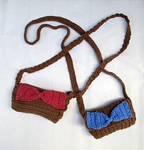 Bolsa Transversal Pin Up Retrô de Lacinho em Crochê Eco