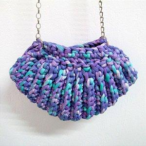 Bolsa de Concha Sereia em Crochê com alça de Corrente
