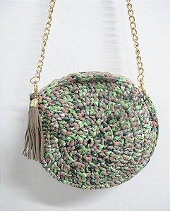 Bolsa Redonda Retrô Tiracolo Verde em Crochê Artesanal Corrente