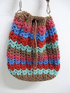 Bolsa Saco em Crochê estilo anos 70 Retrô Colorida