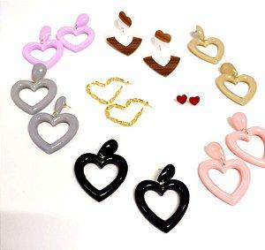 Brinco Barbie Coração Pin Up Retrô - Várias cores