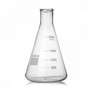 Frasco Erlenmeyer vidro graduado B.E. 2000ml