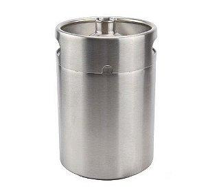 Growler (barril) em inox com capacidade 5,0L, sem tampa