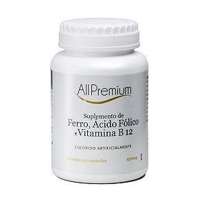 FERRO + ÁCIDO FÓLICO + VITAMINA B12 - 60 CÁPSULAS ALLPREMIUM
