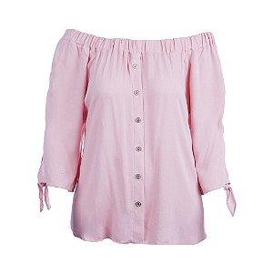 Blusa Plus Size Bata Ombro a Ombro Rosa