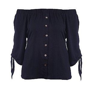 Blusa Plus Size Bata Ombro a Ombro Preto