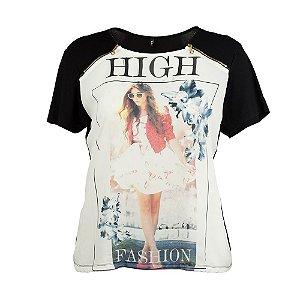 Blusa Plus Size Estampada Zíper
