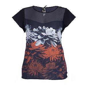 Blusa Plus Size Flores Pompom