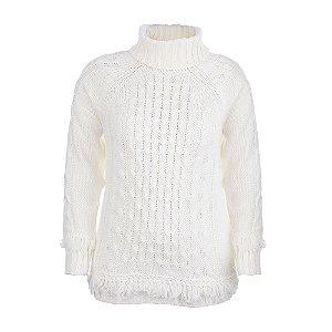 Blusa Plus Size Trança Gola Alta Off White