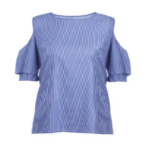 Blusa Plus Size Tricoline Listrada
