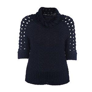 Blusa Plus Size Tricot Kalla Preto