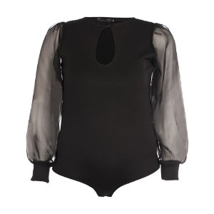Body Plus Size Manga Transparente Preto