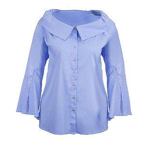 Camisa Plus Size Manga Sino Azul