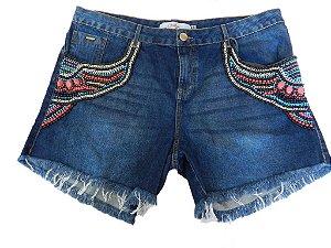 Shorts Plus Size Jeans Bordado Vermelho