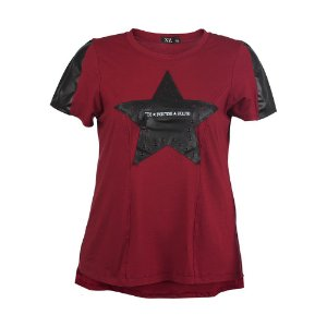 T-Shirt Plus Size Estrela Vinho