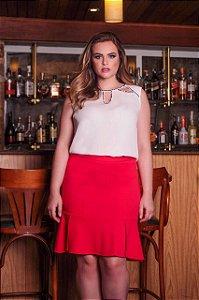 Blusa Plus Size Decote com Abertura e Bordado Preto