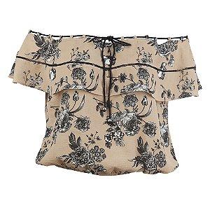 Blusa Plus Size Nude Cordão