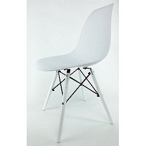 Cadeira Eiffel Branca com Base de Madeira Branca