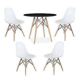 Kit Mesa Eiffel 80 cm Tampo Preto + 4 Cadeiras Eiffel Brancas
