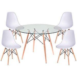 Conjunto Mesa de Vidro 120 cm + 4 Cadeiras Eiffel Brancas