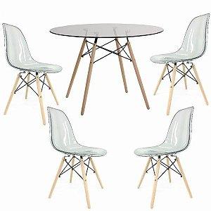 Conjunto Mesa de Vidro 120 cm + 4 Cadeiras Eiffel Fumê