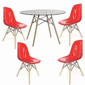 Conjunto Mesa de Vidro 120 cm + 4 Cadeiras Eiffel Vermelho
