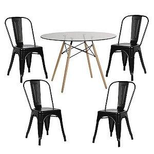 Conjunto Mesa de Vidro 120 cm + 4 Cadeiras Phoenix Pretas